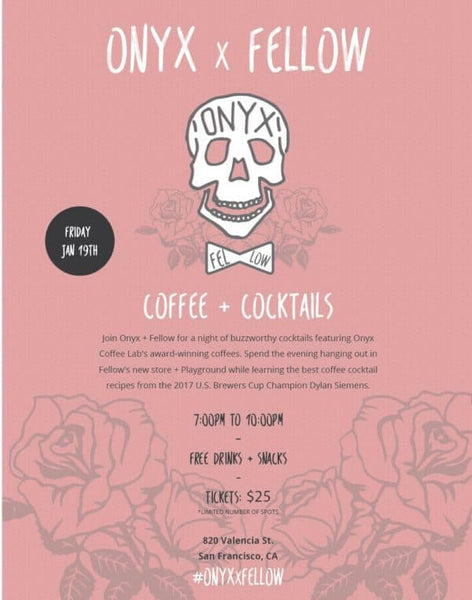 Poster for Onyx x Fellow Brew Master Class Weekend Coffee Cocktails