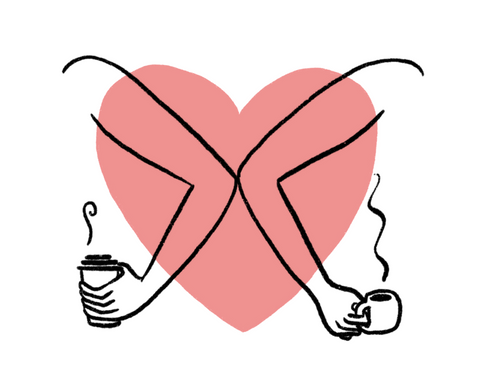 Heart with two people drinking coffee