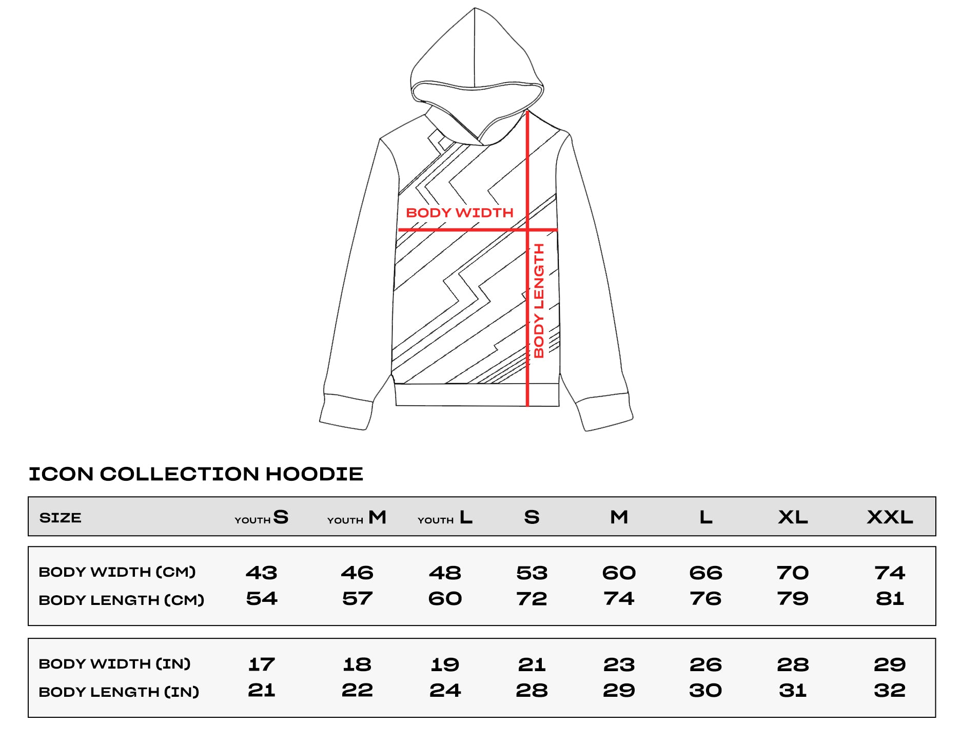 Icon Collection Hoodie Size Chart