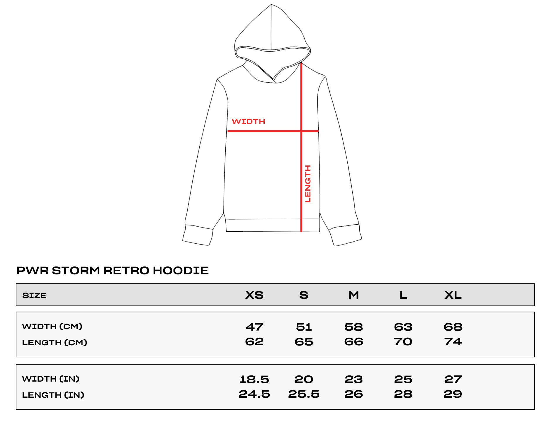 PWR STORM Size Chart Hoodie