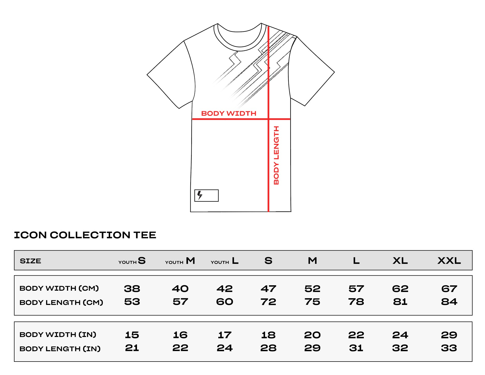 Icon Collection Size Chart Tee
