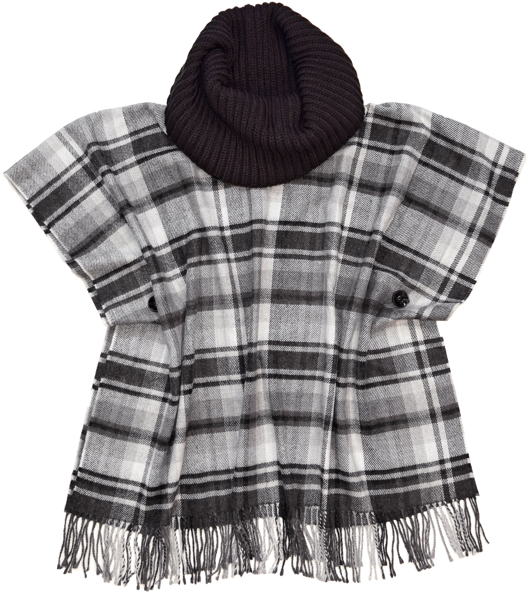 Block Plaid Acrylic Woven Poncho with Knit Collar