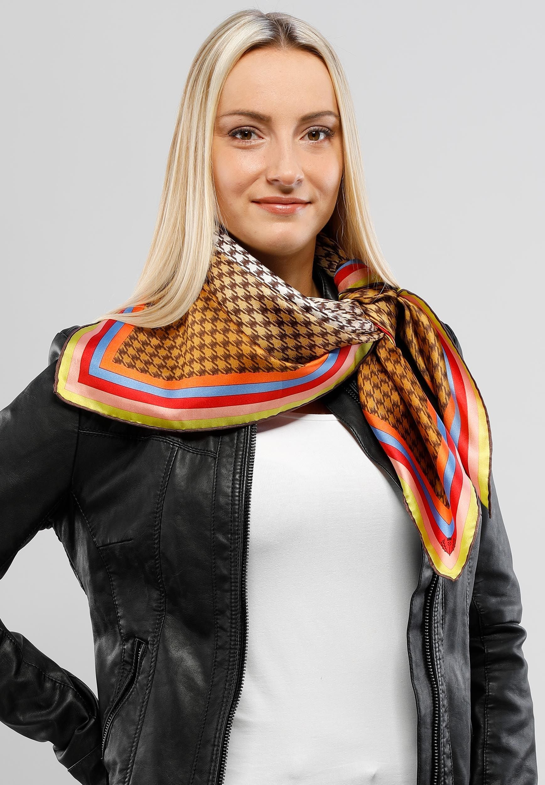 FRAAS Rainbow Houndstooth Silk Printed Oversized Square Scarf