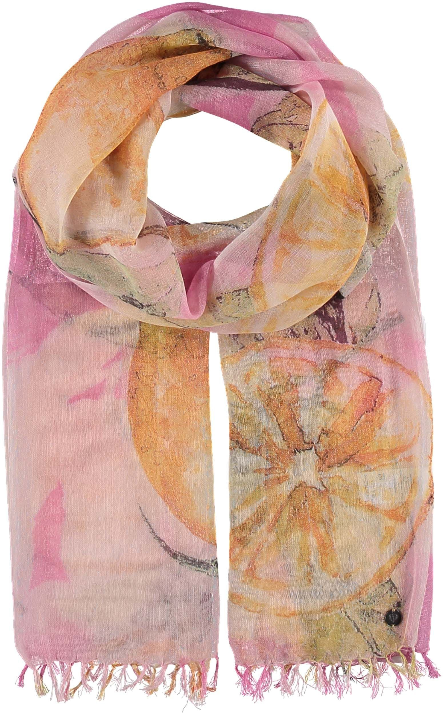 Lemon Zest Cotton Linen Wool Blend Print Scarf