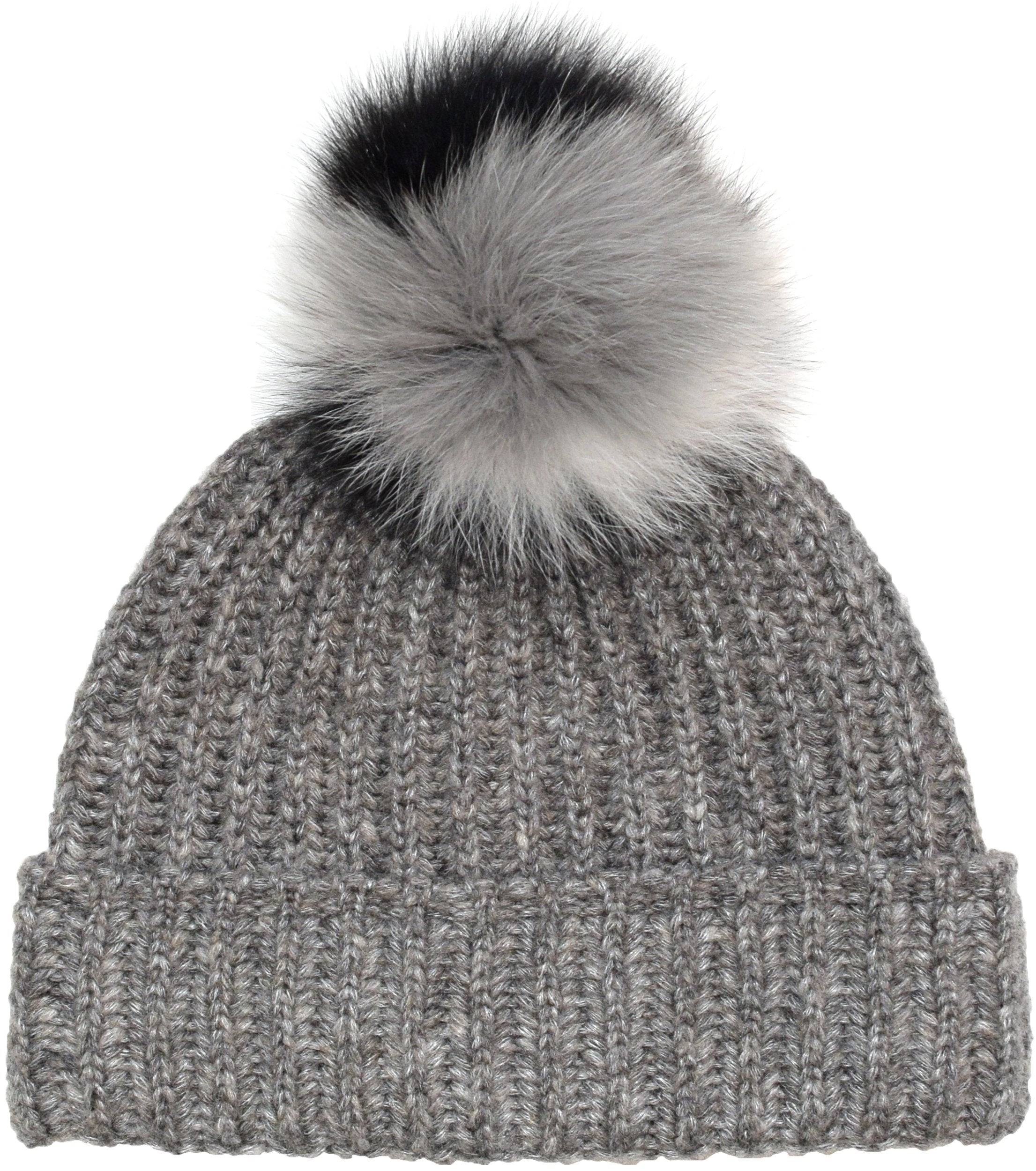 Wool Blend Knit Toque with Multicolored Real Fur Pom