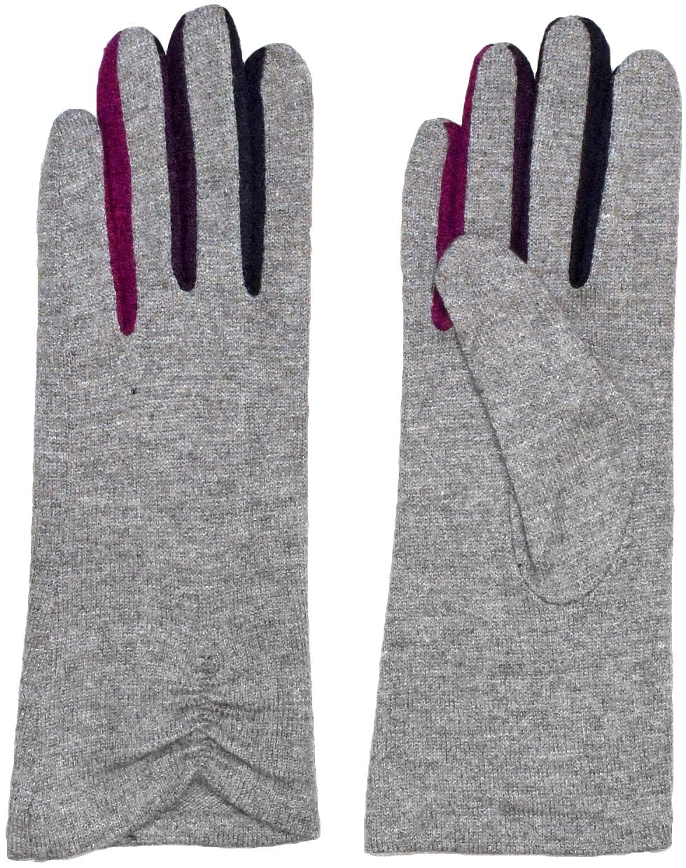 Wool Blend Knit Tech Glove with Multicolored Insets