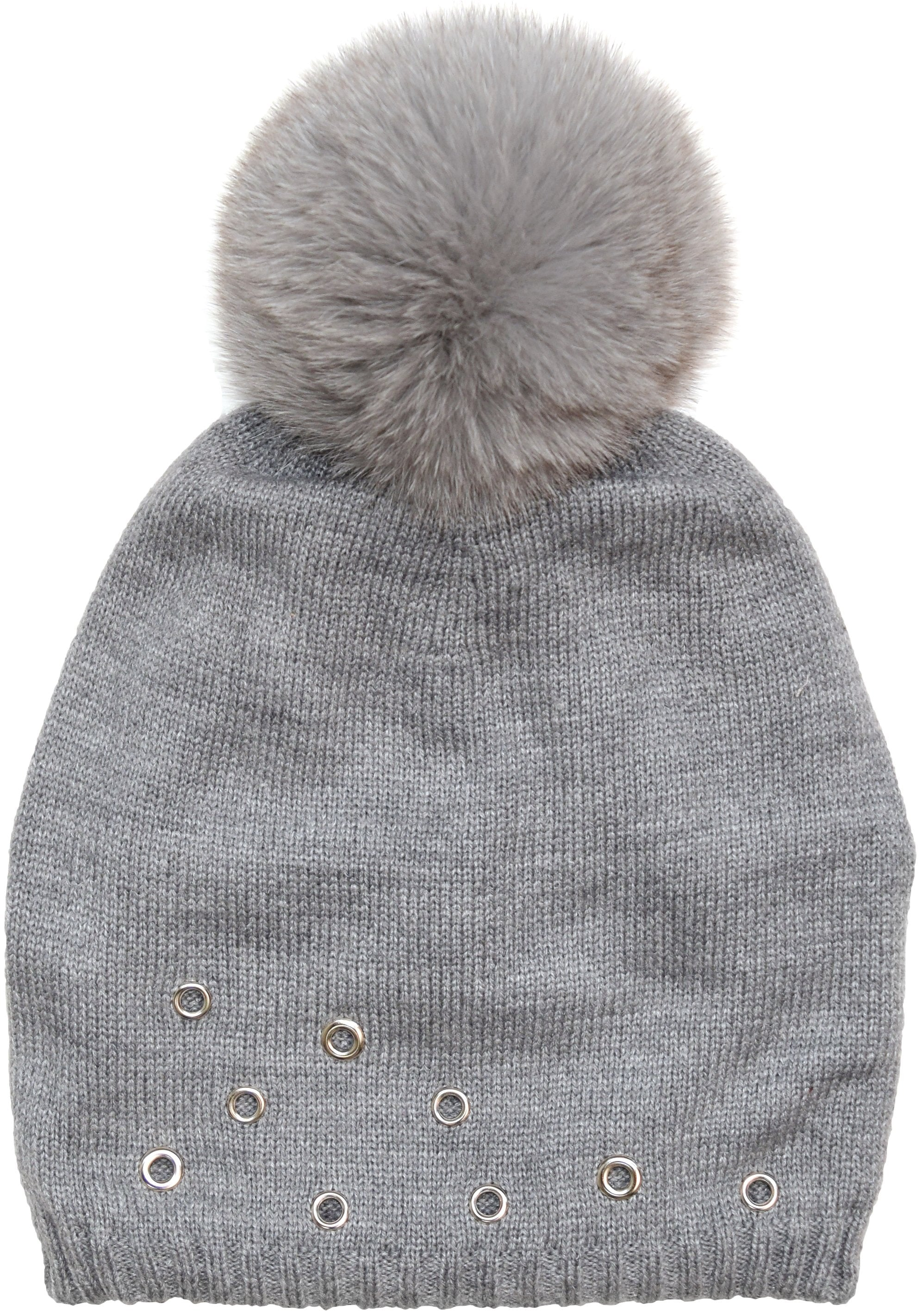 Knit Hat with Real Fur Pom Embellished with Grommets