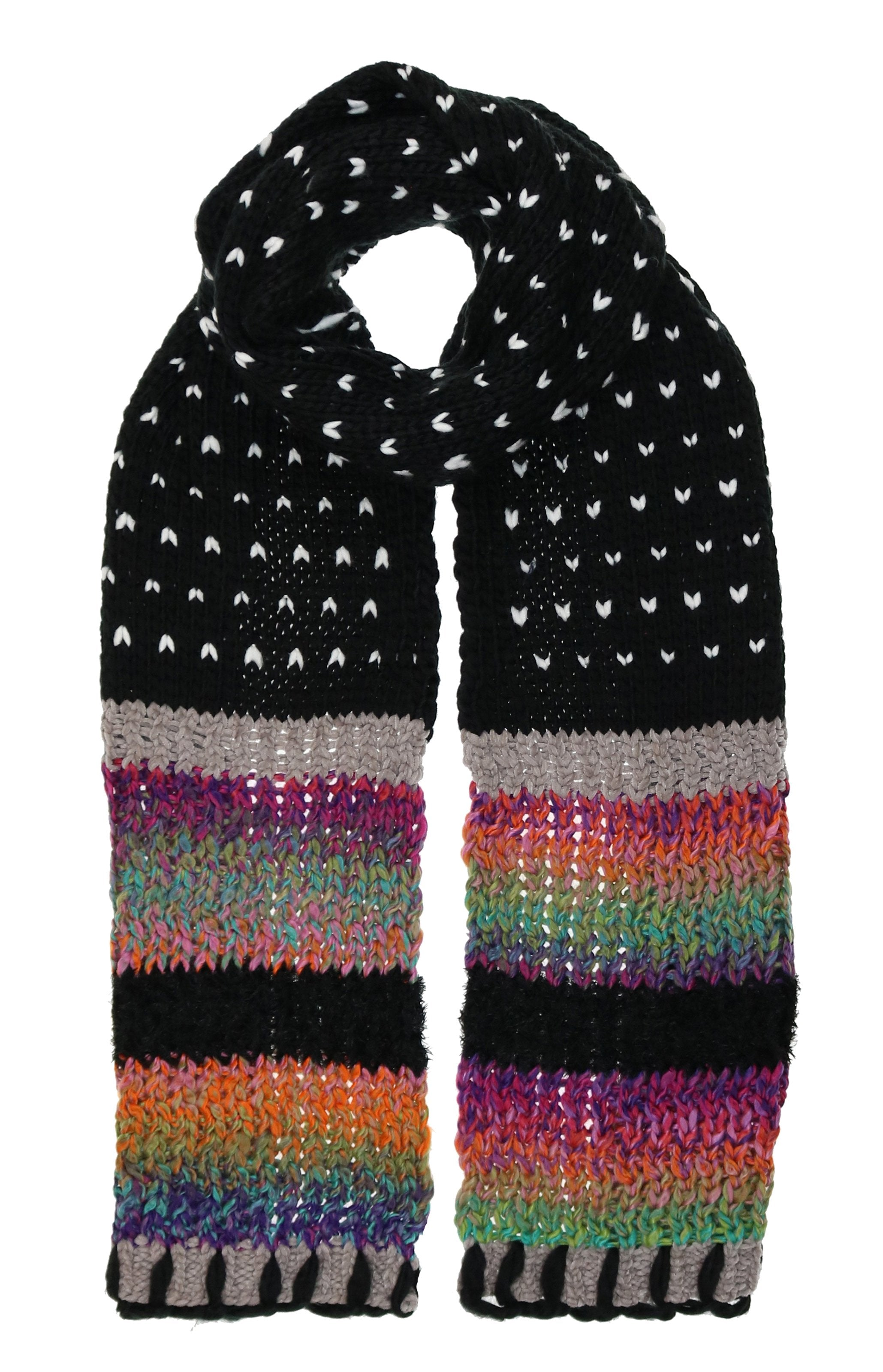 Birdseye Mixed Media Acrylic Polyester Knit Scarf