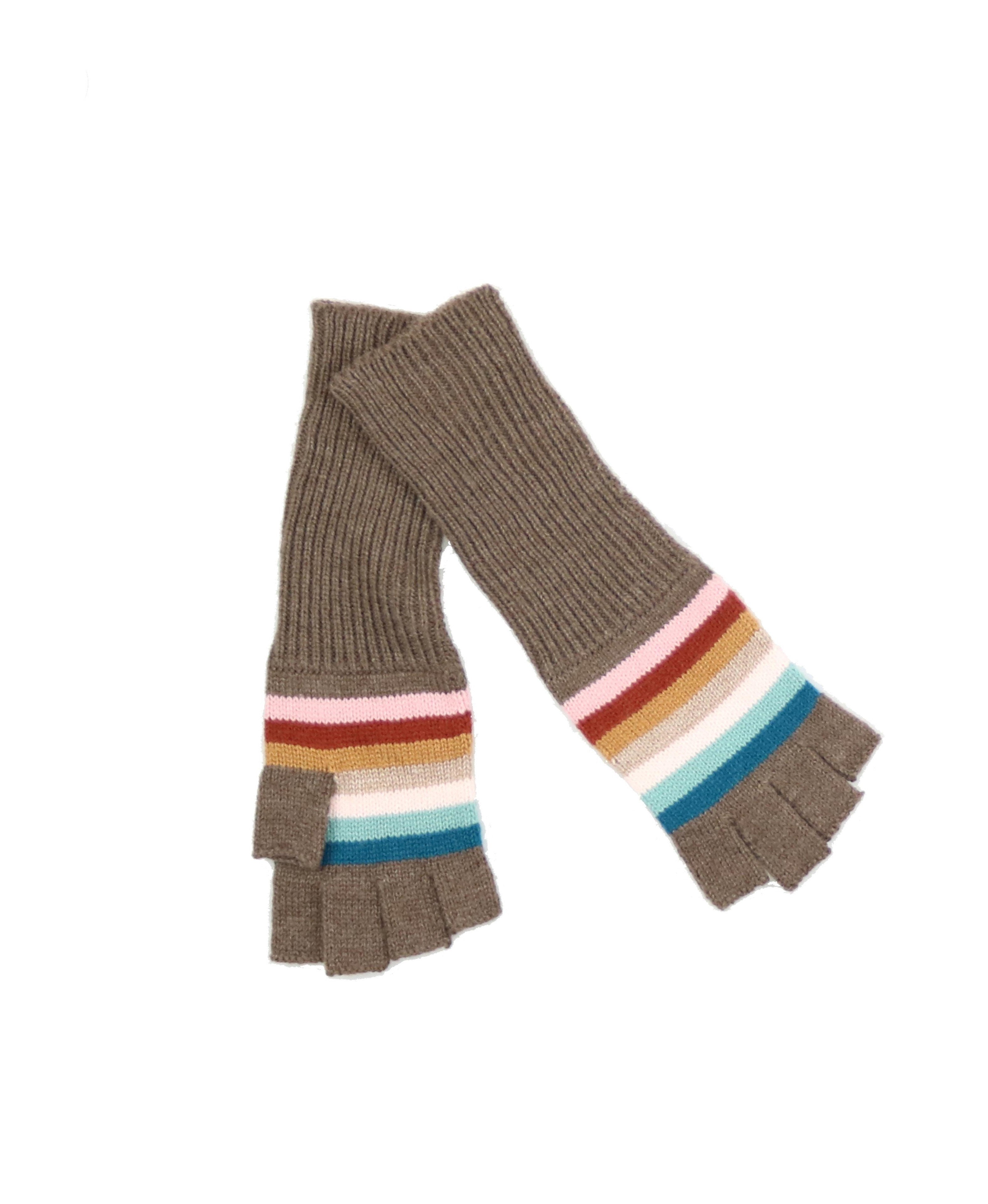 Striped Fingerless Acrylic Knit Glove