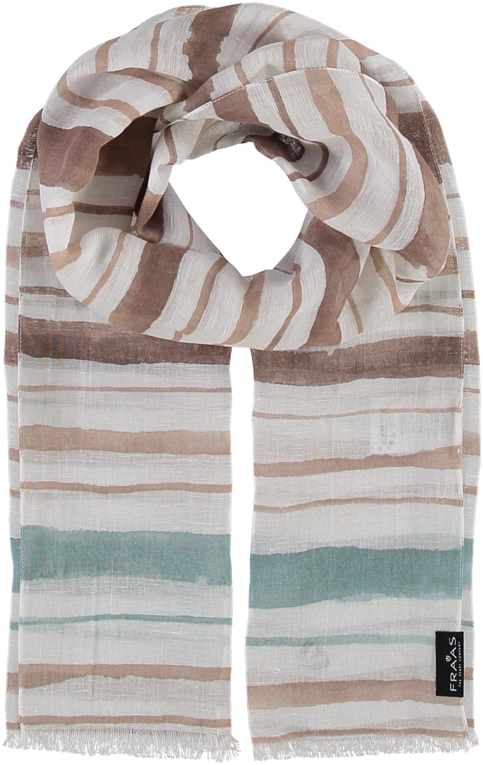 Water Stripes Printed Cotton Linen Scarf
