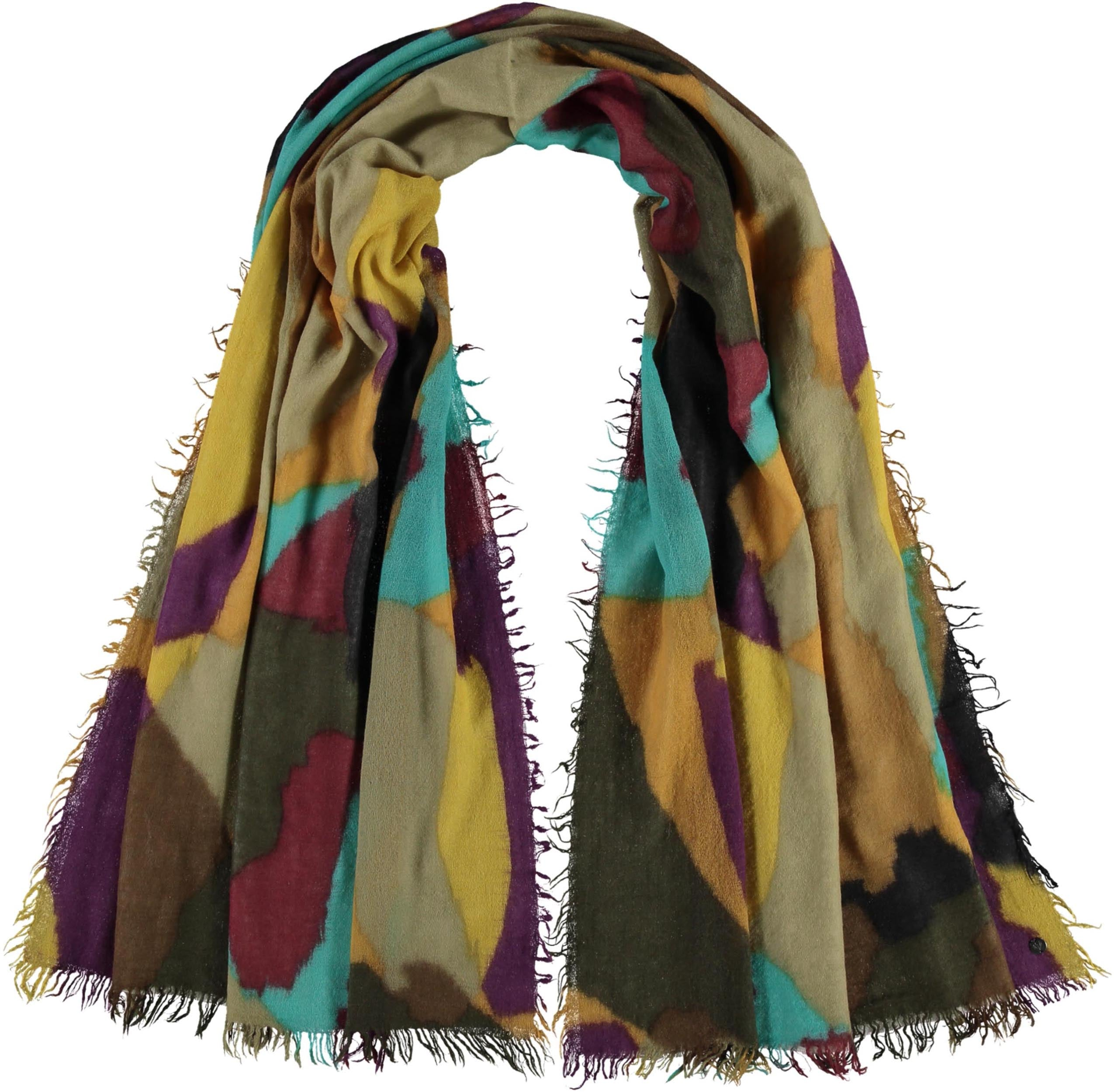 Colourful Patchwork Lightweight Wool Printed Wrap Scarf