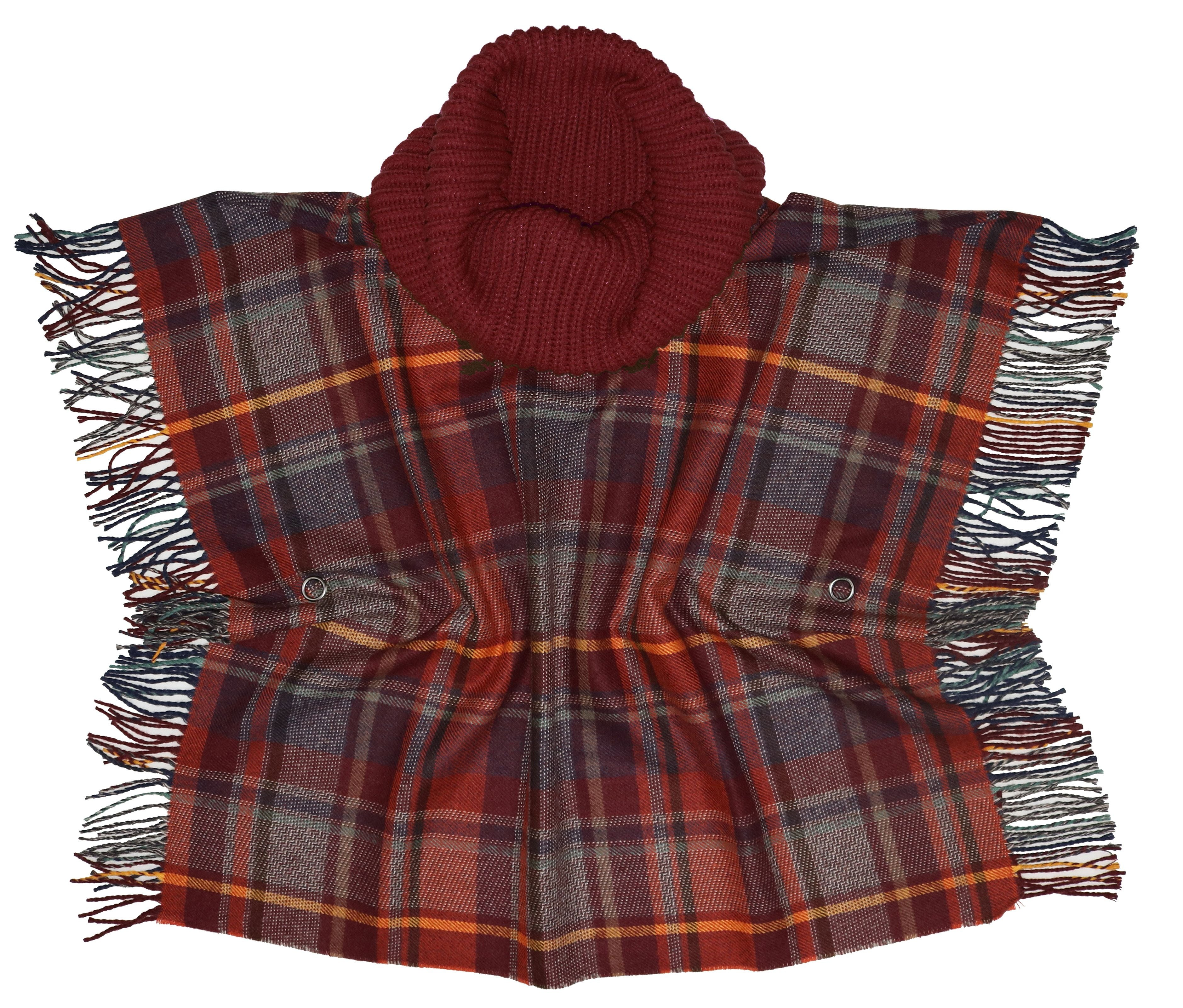 Plaid Acrylic Woven Poncho with Cowl Knit Collar