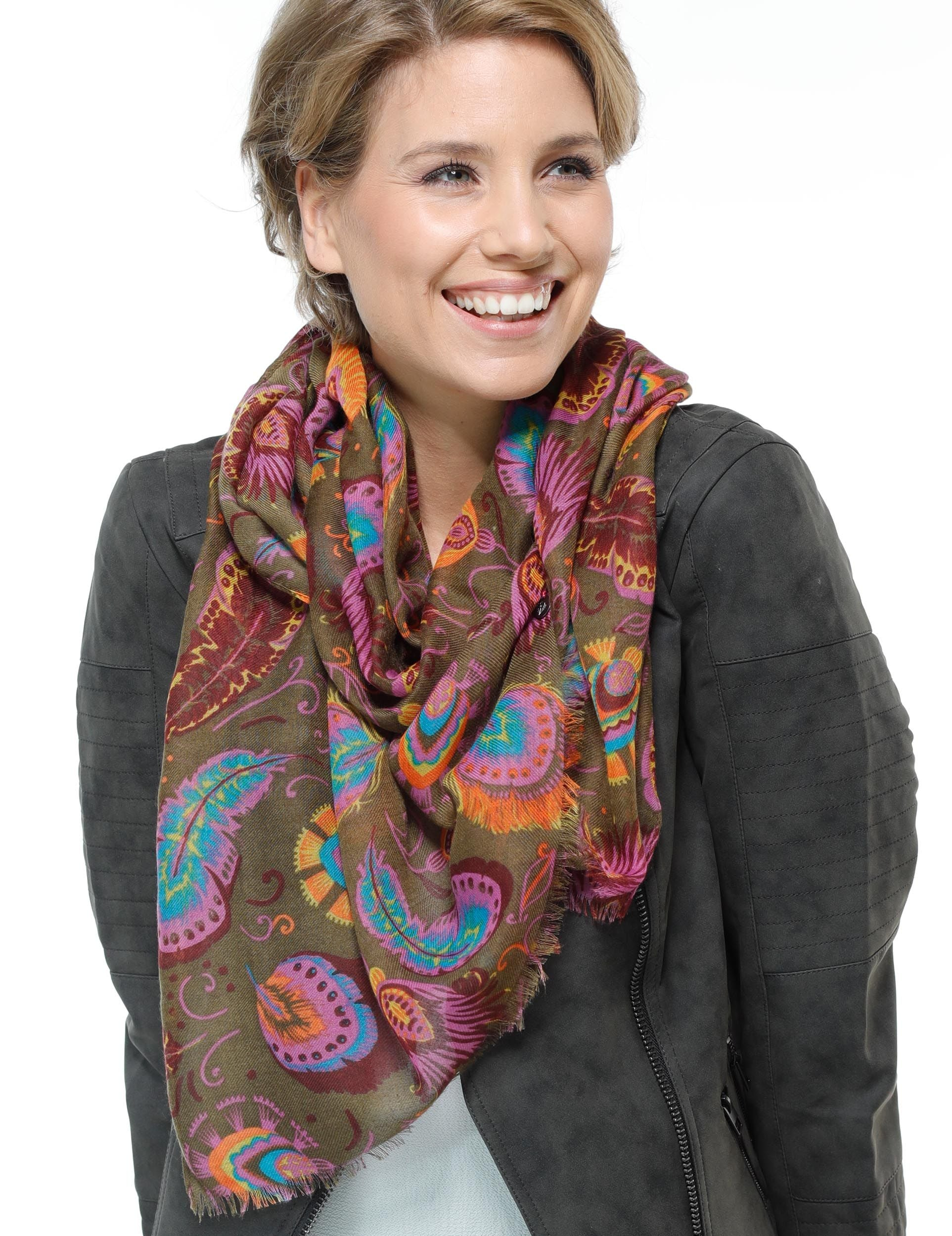 Plumage Polyester Print Scarf