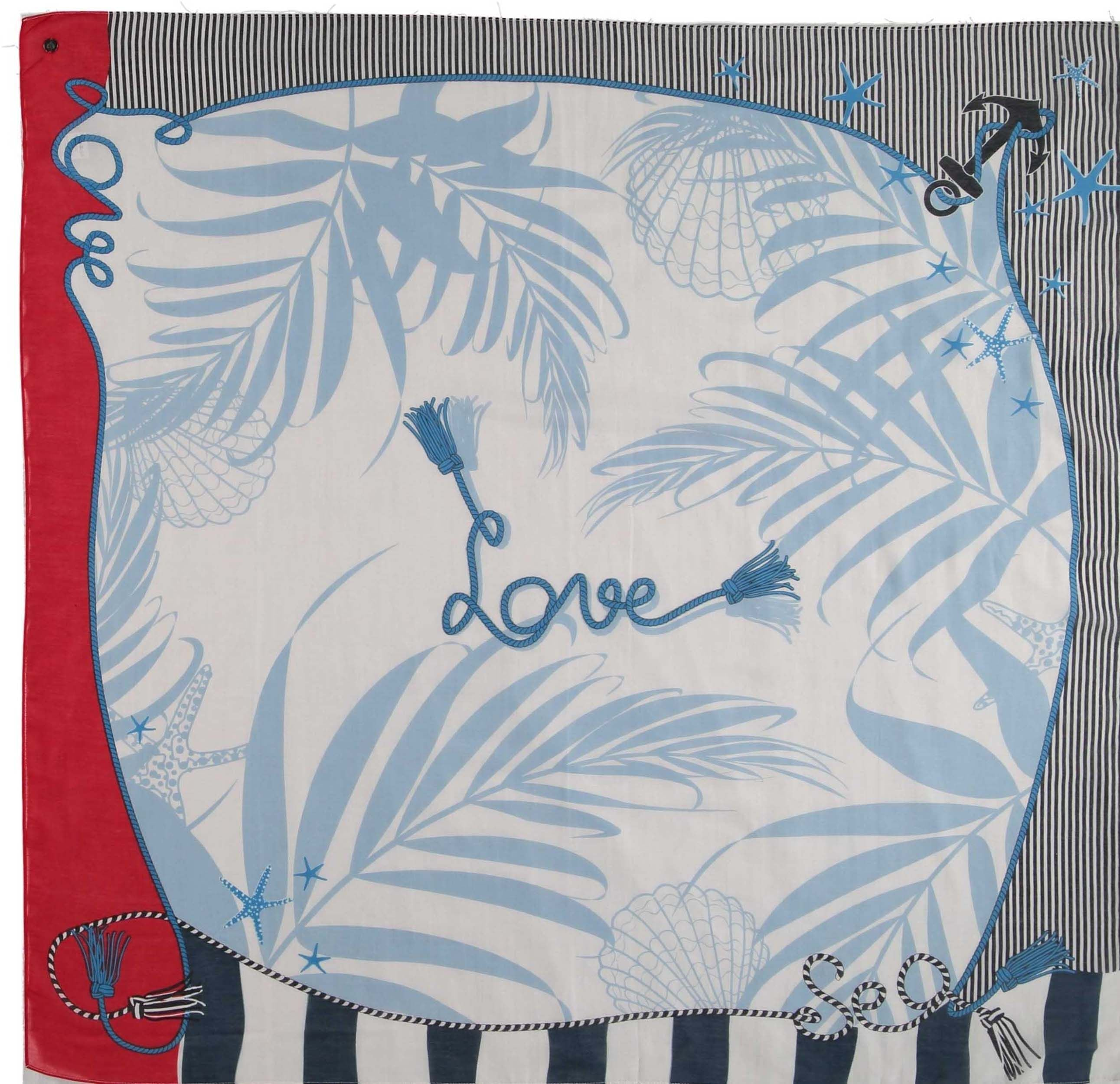 Love By The Sea Cotton Silk Oversize Print Square