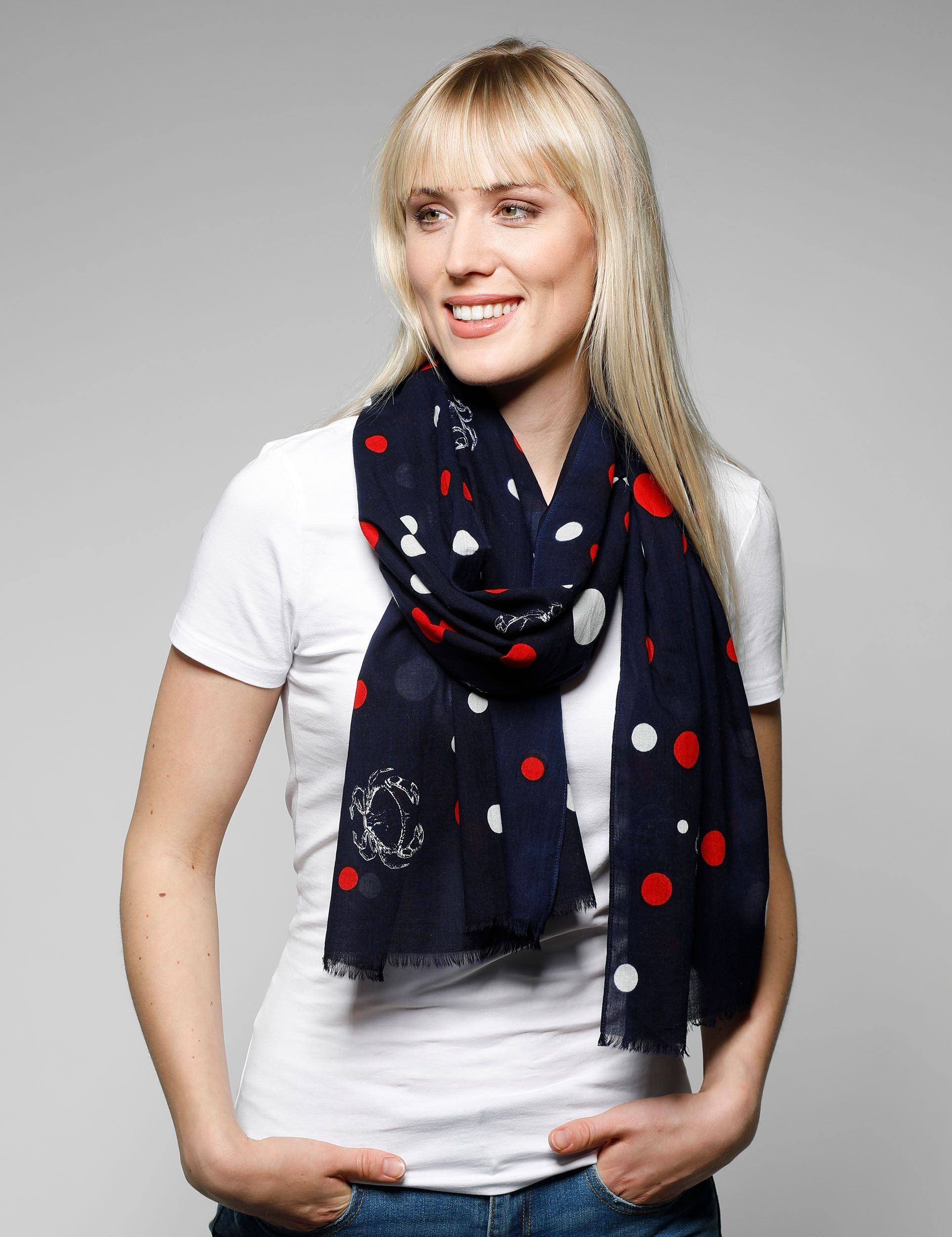 Nautical Dot Cotton Print Scarf