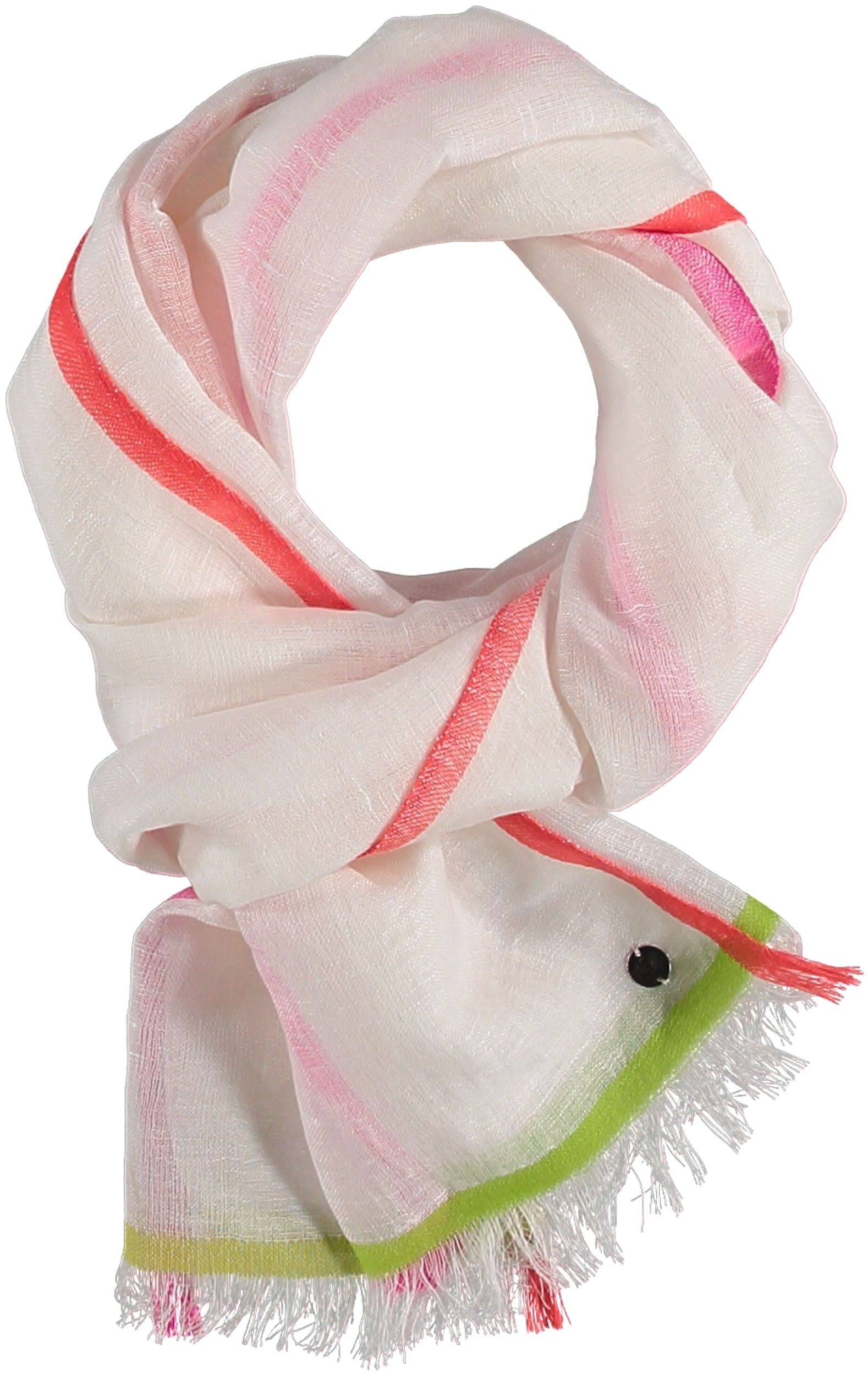 Bright Border Cotton Linen Woven Scarf
