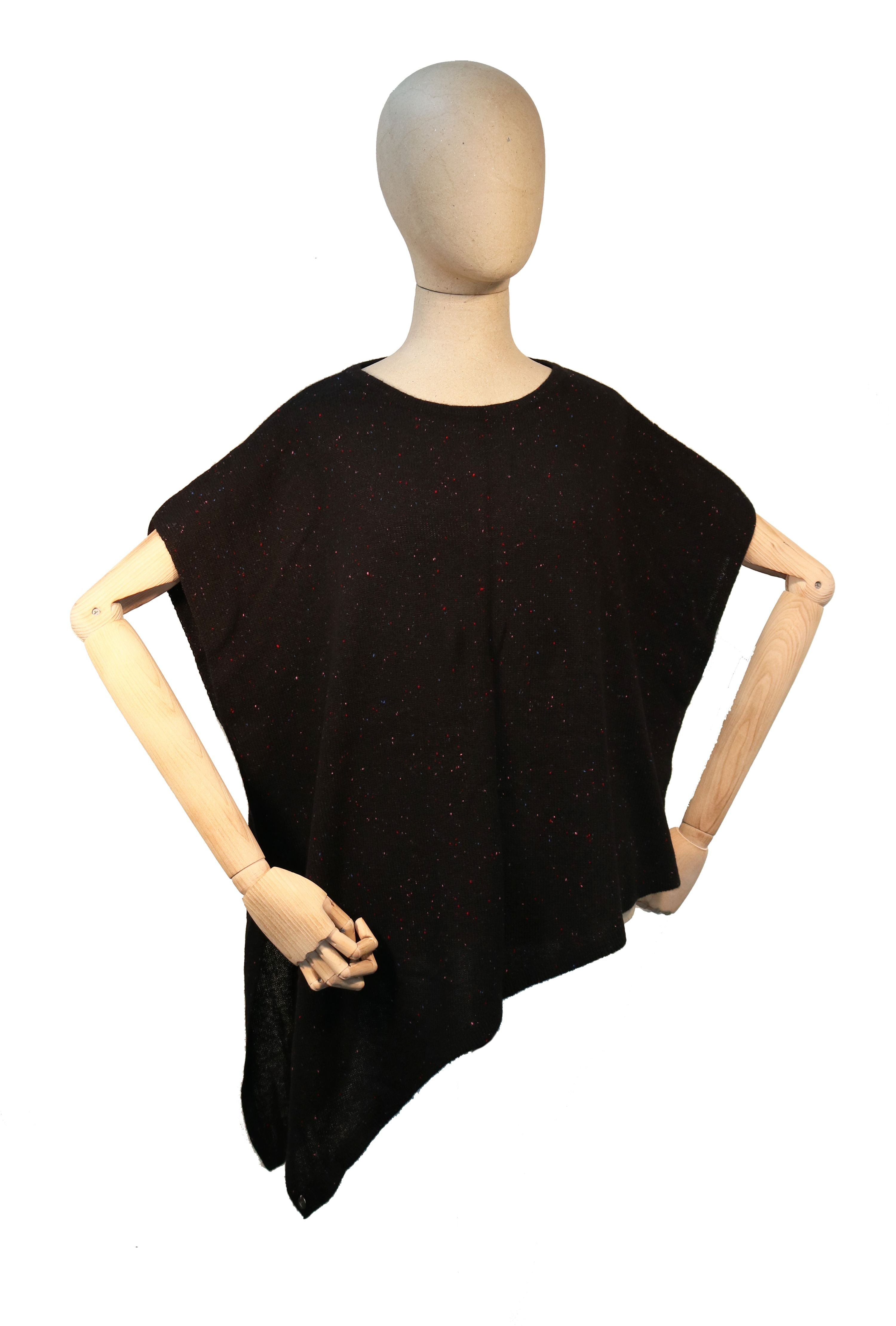 Asymmetrical Cashmere Donegal Knit Sweater Poncho