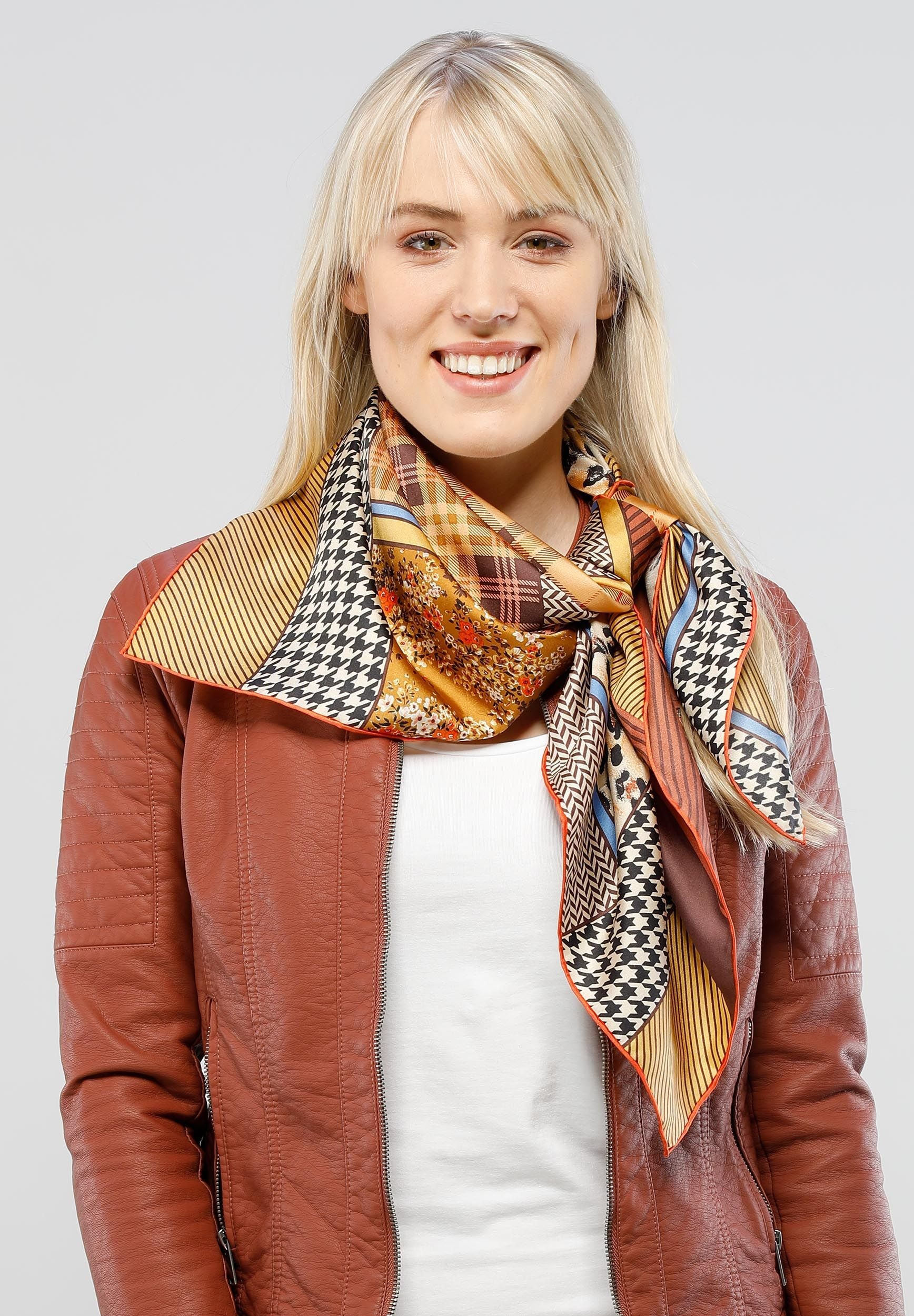 FRAAS Patchwork Equestrian Silk Printed Oversized Square Scarf