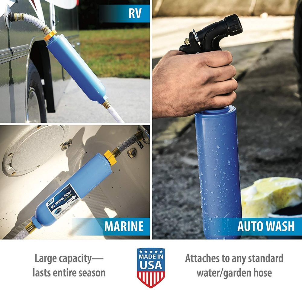 Camco Taste PURE Water Filter with Flexible Hose Protector