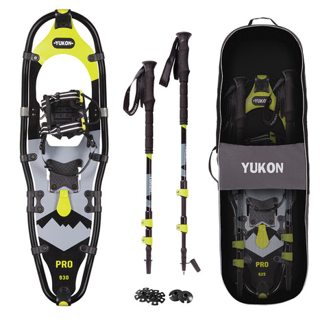 "YUKON Pro Series Showshoe Kit 9"" x 30"" Black-Lime Green 250lbs Weight Capacity w-Snowshoes, Poles & Travel Bag"