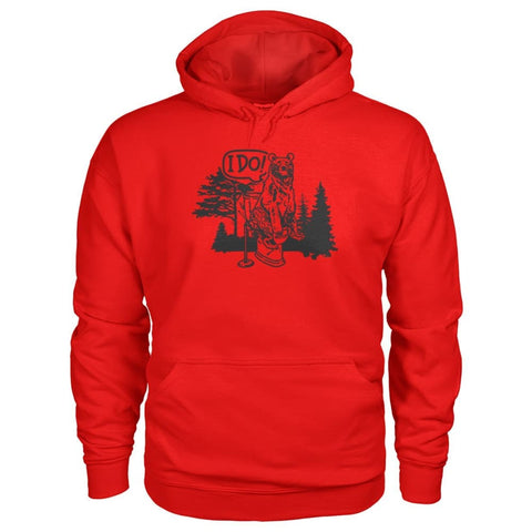Bear In The Woods Hoodie - Red / S - Hoodies
