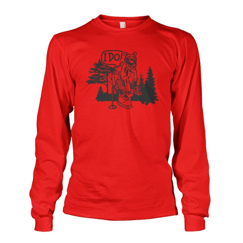 Bear In The Woods Long Sleeve - Red / S - Long Sleeves