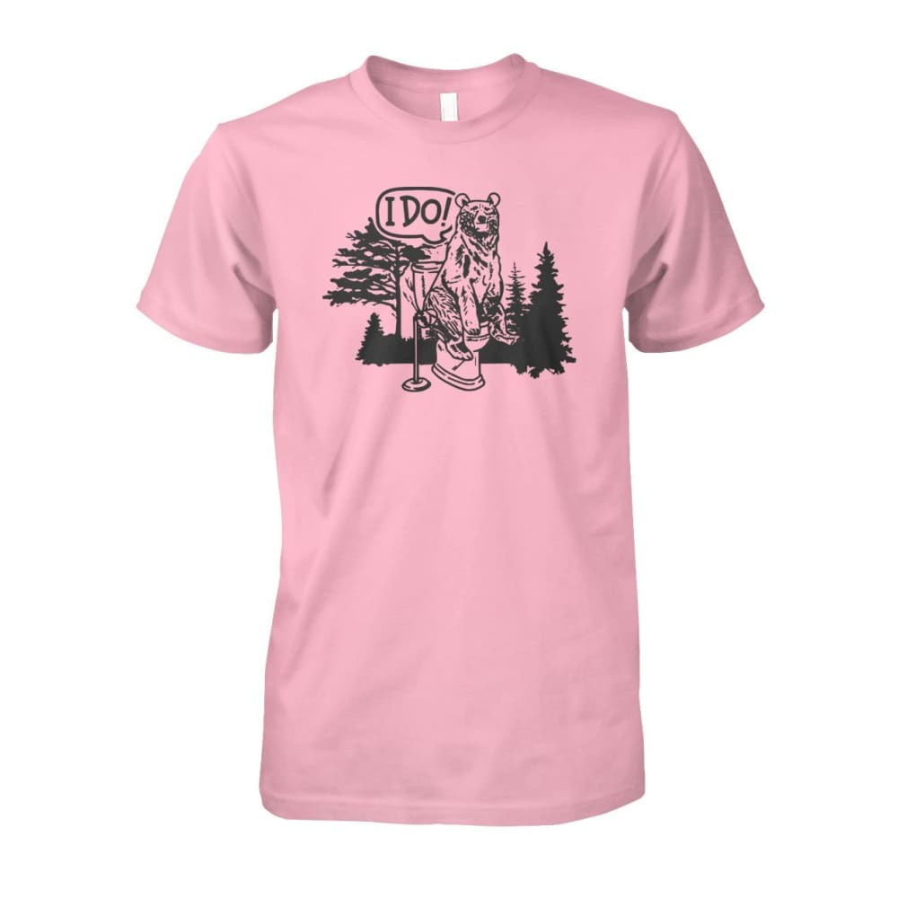 Bear In The Woods Tee - Light Pink / S - Short Sleeves