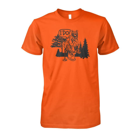 Bear In The Woods Tee - Orange / S - Short Sleeves