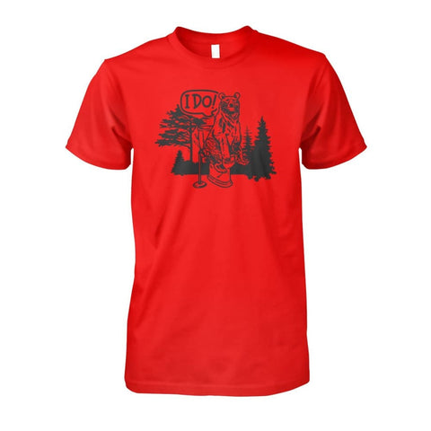 Bear In The Woods Tee - Red / S - Short Sleeves