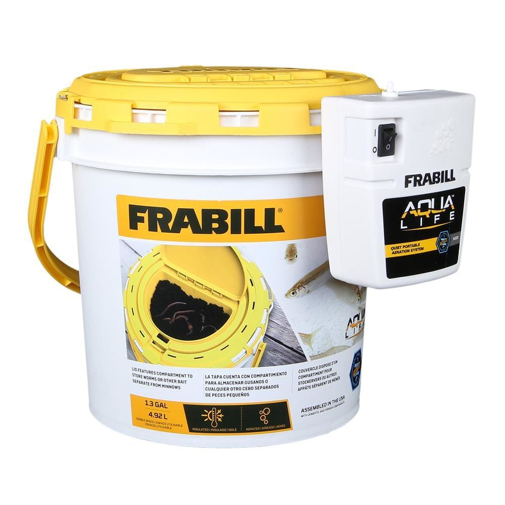 Frabill Dual Fish Bait Bucket w-Clip-On Aerator - Outdoor