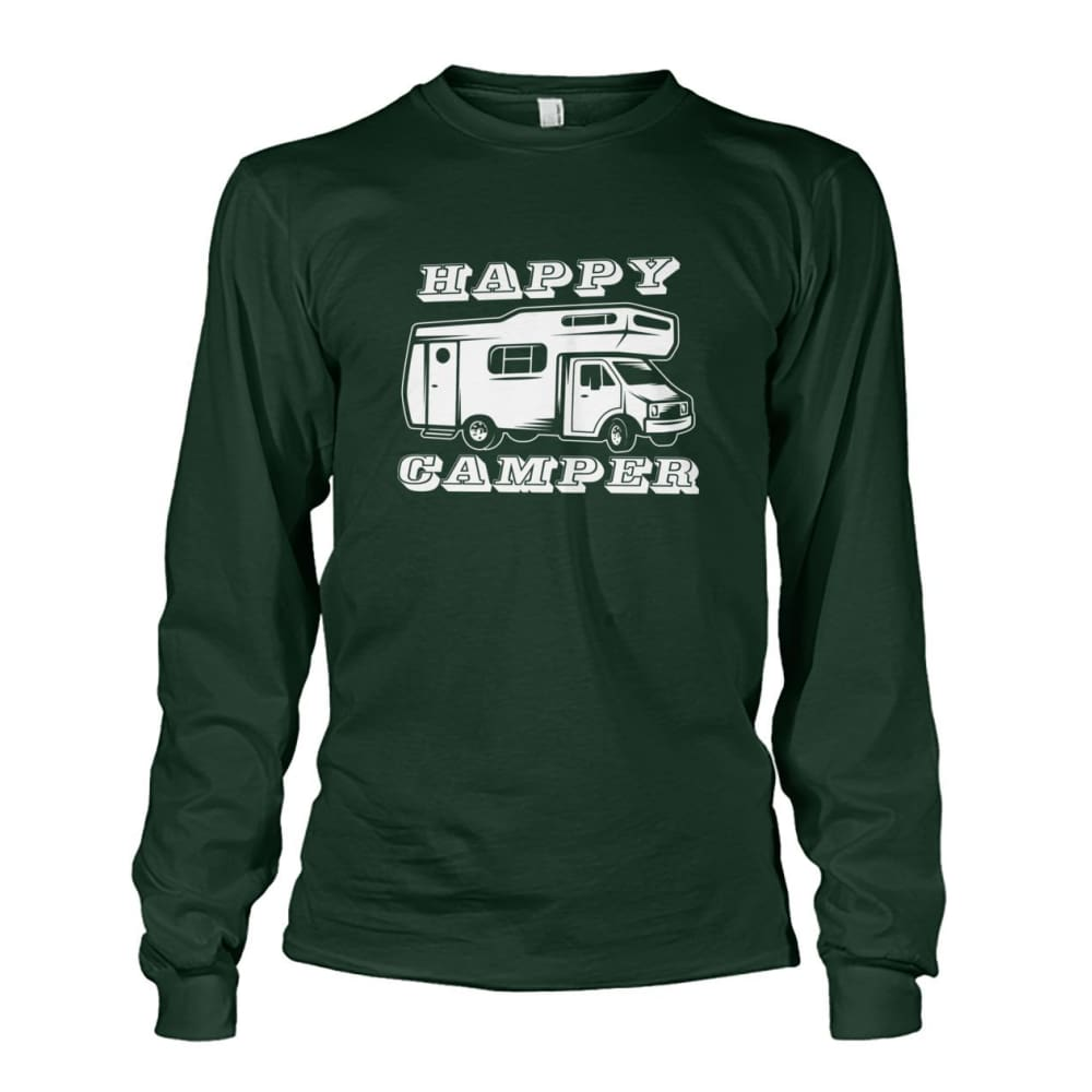 Happy Camper Long Sleeve - Forest Green / S - Long Sleeves