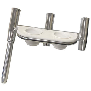 Tigress Offset Triple Rod Holder w-Cup Holders - Starboard Side - Polished Aluminum - Outdoor