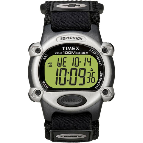 Timex Expedition Mens Chrono Alarm Timer Silver-Black - Outdoor