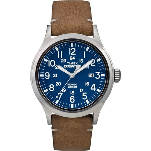 Timex Expedition Metal Scout - Tan Leather-Blue Dial - Outdoor