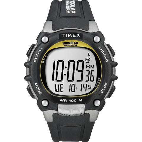 Timex Ironman Traditional 100-Lap - Black-Silver-Yellow Watch - Outdoor