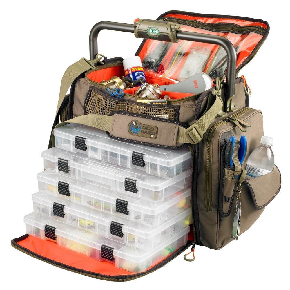 Wild River FRONTIER Lighted Bar Handle Tackle Bag w-5 PT3700 Trays - Outdoor