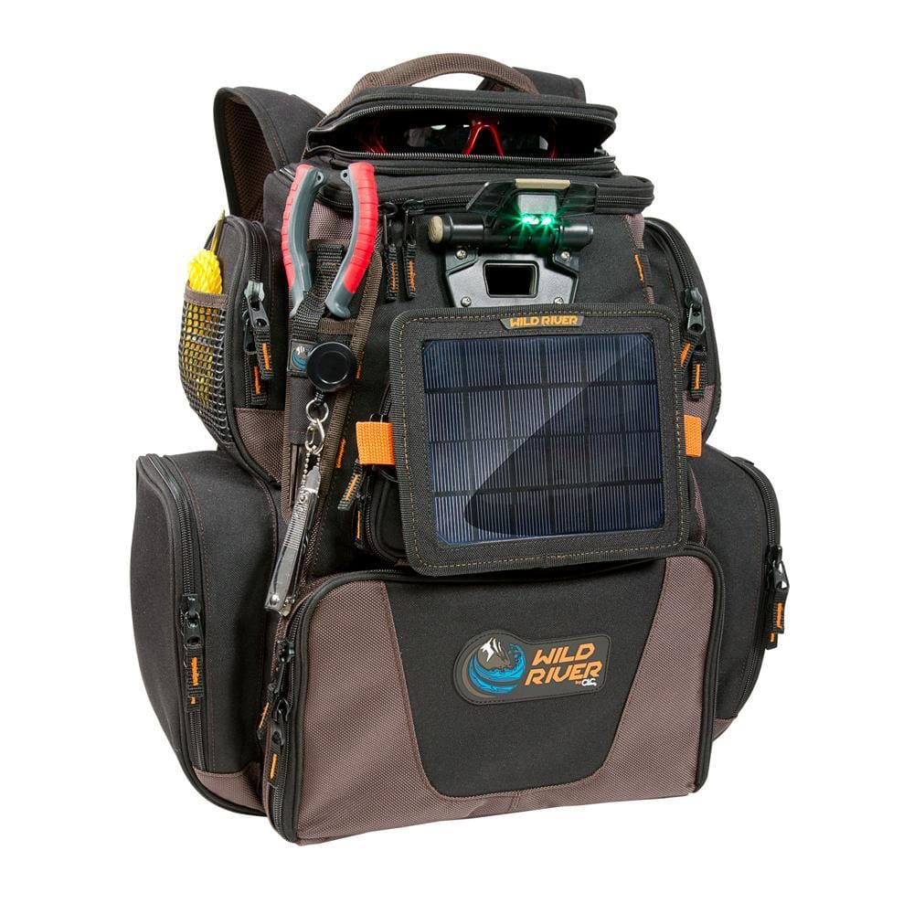Wild River Tackle Tek Nomad XP Lighted Backpack w-USB Charging System SP01 Solar Kit & Trays - Outdoor