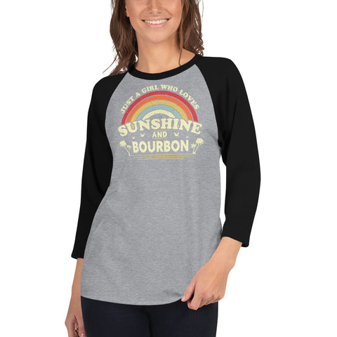Girl and Her Bourbon 3/4 Sleeved Raglan T-Shirt