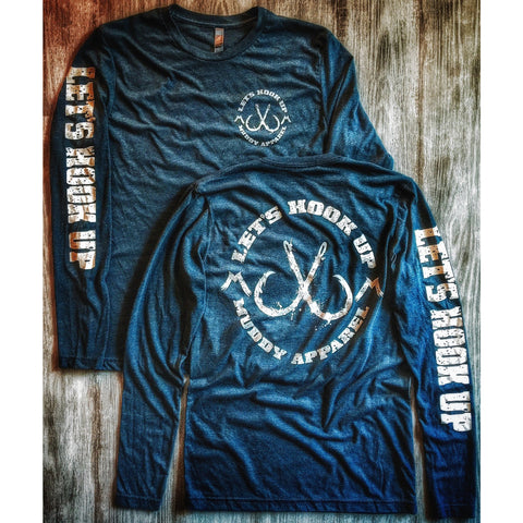 LET'S HOOK UP - BLUE W/ WHITE PREMIUM LONG SLEEVE