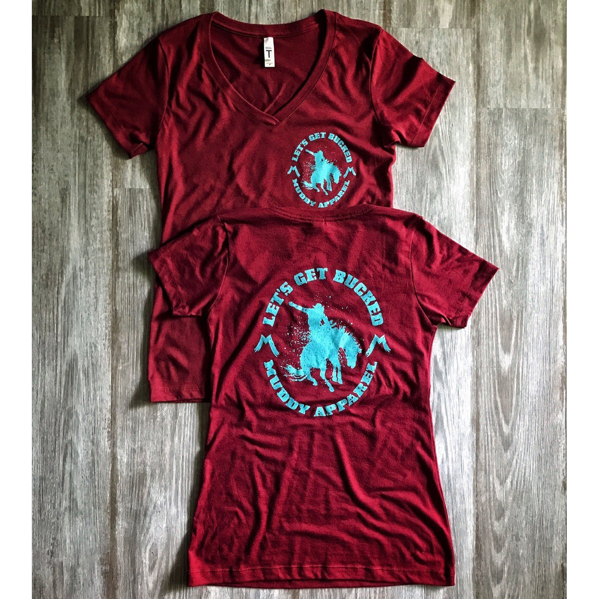 ea10138bf069 LET S GET BUCKED 2 - DEEP SCARLET RED W  TURQUOISE PREMIUM V-NECK