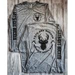 LET'S GET BUCKED - HEATHER GREY W/ BLACK PREMIUM LONG SLEEVE