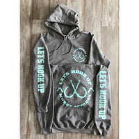LET'S HOOK UP - HEATHER GREY W/ TURQUOISE HOODIE