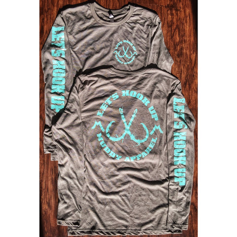 LET'S HOOK UP - VENETIAN GREY W/ TURQUOISE PREMIUM LS