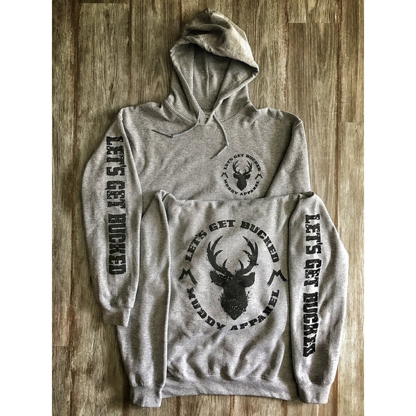 LET'S GET BUCKED - HEATHER GREY W/ BLACK PREMIUM HOODIE