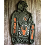 muddy-apparel-shop.myshopify.com LET'S GET BUCKED - MILITARY GREEN W/ ORANGE AND WHITE PREMIUM HOODIE