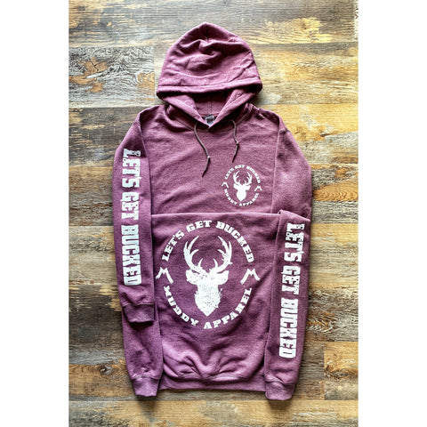 LET'S GET BUCKED - HEATHER MAROON W/ WHITE PREMIUM HOODIE
