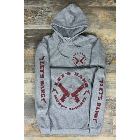 LET'S BANG 2 - HEATHER GREY W/ MAROON PREMIUM HOODIE