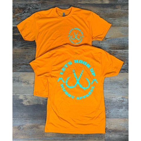 LET'S HOOK UP - ORANGE W/ TURQUOISE PREMIUM TEE