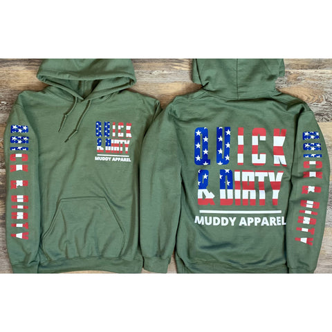 "QUICK & DIRTY - THE ""AMERICA II"" - MILITARY W/ U.S. FLAG PREMIUM HOODIE"