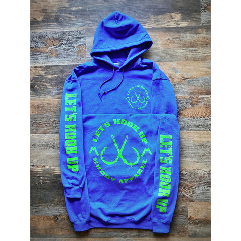 LET'S HOOK UP - HEATHER ROYAL W/ BRIGHT GREEN PREMIUM HOODIE